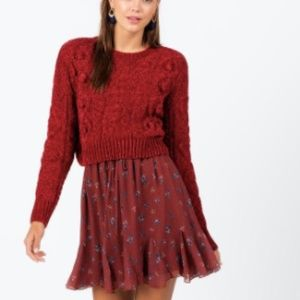 NWT Francesca's Cable Knit Crop Sweater